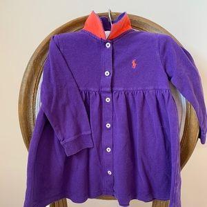 Ralph Lauren Purple Pique Polo Button Front Dress